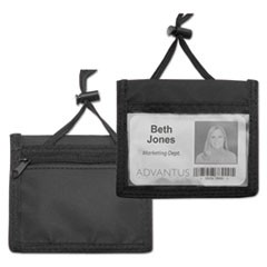 ID Badge Holder w/Convention Neck Pouch, Horizontal, 4 x 2 1/4, Black, 12/Pack