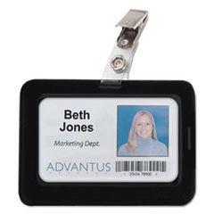 Rubberized Badge Holder, 2 1/2 x 3 3/4, Horizontal/Vertical, Black, 5/PK