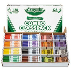 Crayons and Markers Combo Classpack, Eight Colors, 256/Set