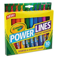 Powerlines Washable Project Markers w/Scents, Broad Chisel Tip, Assorted Colors, 10/Set