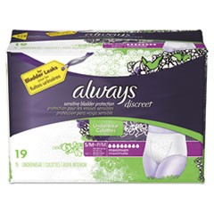 Discreet Incontinence Underwear, Small/Medium, Maximum Absorbency, 19/Pack, 3 Packs/Carton