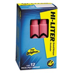 HI-LITER Desk-Style Highlighter, Chisel Tip, Light Pink Ink, Dozen