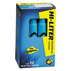 HI-LITER Desk-Style Highlighter, Chisel Tip, Light Blue Ink, Dozen