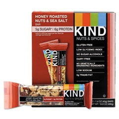 Nuts and Spices Bar, Honey Roasted Nuts/Sea Salt, 1.4 oz Bar, 12/Box