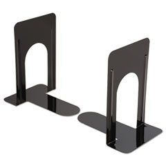 Economy Bookends, Standard, 5 7/8 x 8 1/4 x 9, Heavy Gauge Steel, Black