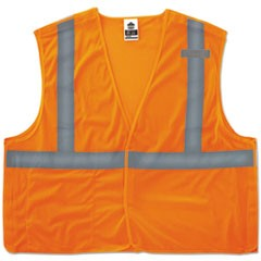GloWear 8215BA Type R Class 2 Econo Breakaway Mesh Vest, Orange, S/M