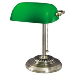 Alera Traditional Banker'S Lamp, Green Glass Shade, 10.5 W X 11 D X 13 H, Antique Brass