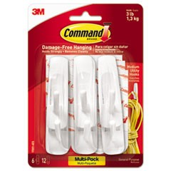 Command General Purpose Hooks Multi-Pack, Medium, 3 Lb Cap, White, 6 Hooks And 12 Strips/Pack