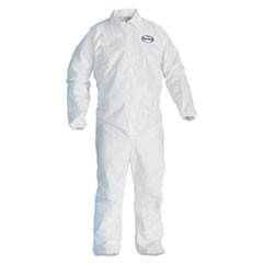 A40 Elastic-Cuff Coveralls, White, Large, 25/Case