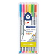 triplus Fineliner Marker, Super Fine, Water-Based, 6 Neon Colors