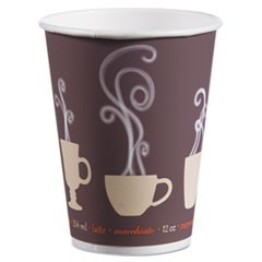 Thermoguard Insulated Paper Hot Cups, 12 oz, Steam Print, 600/Carton