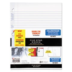 Reinforced Filler Paper, 20lb, College Rule, 11 x 8 1/2, White, 100 Sheets