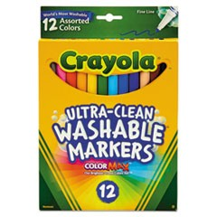Washable Markers, Fine Point, Classic Colors, 12/Set
