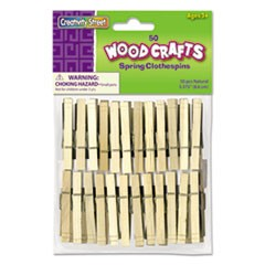 Wood Spring Clothespins, 3.38 Length, 50 Clothespins/Pack
