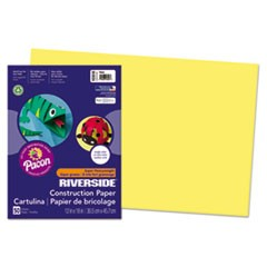 Riverside Construction Paper, 76lb, 12 x 18, Yellow, 50/Pack