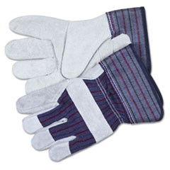 Split Leather Palm Gloves, Medium, Gray, Pair
