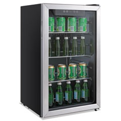 Alera 3.2 Cu. Ft. Beverage Cooler, Stainless Steel/Black