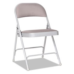 Steel Folding Chair with Two-Brace Support, Fabric Back/Seat, Light Gray, 4/CT