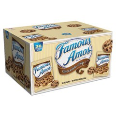 Famous Amos Cookies, Chocolate Chip, 2 oz Snack Pack, 36/Carton