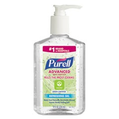 Advanced Hand Sanitizer Green Certified Gel, Fragrance-Free, 8 oz Pump Bottle, 12/Carton