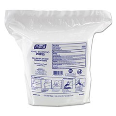 "Premoistened Hand Sanitizing Wipes, Nonwoven Fiber, 5"" x 8"", 1500/Refill"