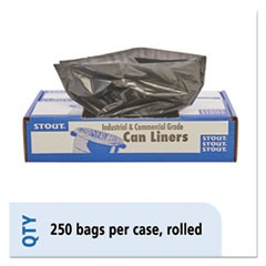 100% Recycled Plastic Trash Bags, 7-10gal, 1mil, 24 x 24, Brown/Black, 250/CT
