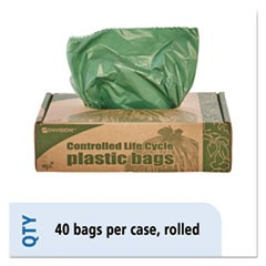 Controlled Life-Cycle Plastic Trash Bags, 33gal, 1.1mil, 33 x 40, Green, 40/Box