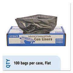 100% Recycled Plastic Trash Bags, 56gal, 1.5mil, 43 x 49, Brown/Black, 100/CT