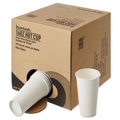 Convenience Pack Paper Hot Cups, 16 oz, White, 180/Carton