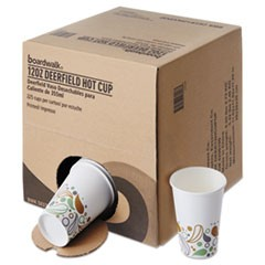 Convenience Pack Paper Hot Cups, 12 oz, Deerfield Print, 225/Carton