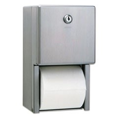 Stainless Steel 2-Roll Tissue Dispenser, 6 1/16 x 5 15/16 x 11, Stainless Steel