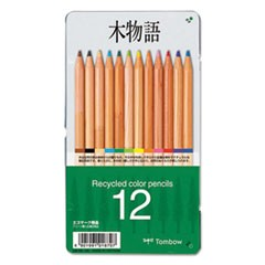 Recycled Colored Pencils, Natural Wood, Recycled Cedar, Artist Quality, 12/ST