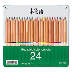 Recycled Colored Pencils, Natural Wood, Recycled Cedar, Artist Quality, 24/ST