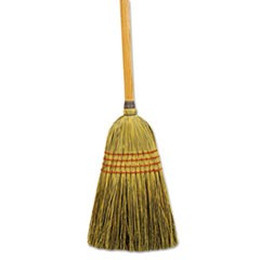 "Maid Broom, Mixed Fiber Bristles, 55"" Long, Natural, 12/Carton"
