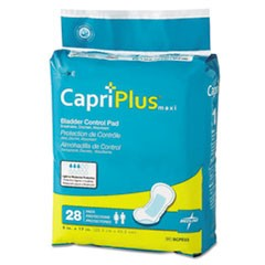 "Capri Plus Bladder Control Pads, Ultra Plus, 8"" x 17"", 28/Pack"