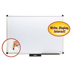 "Justick Premium Aluminum-Frame Electro-Surface Bulletin Board, 36"" x 24"", White"