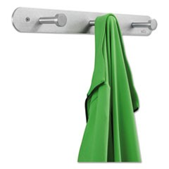 Nail Head Wall Coat Rack, Three Hooks, Metal, 18w x 2.75d x 2h, Satin