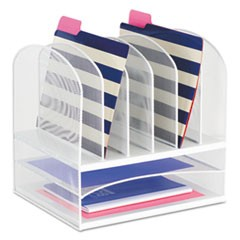 "Onyx Mesh Desk Organizer with Two Horizontal and Six Upright Sections, Letter Size Files, 13.25"" x 11.5"" x 13"", White"