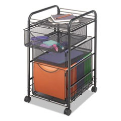 Safco Onyx Mesh Mobile File With Two Supply Drawers, 15.75W X 17D X 27H, Black