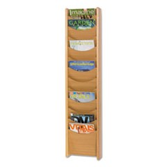 Solid Wood Wall-Mount Literature Display Rack, 11-1/4 x 3-3/4 x 48, Medium Oak