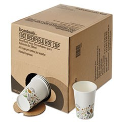 Convenience Pack Paper Hot Cups, 10 oz, Deerfield Print, 9 Cups/Sleeve, 29 Sleeves/Carton