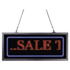 "Programmable LED Message Board with Blue Border, 11"" x 25"", Red/Blue"
