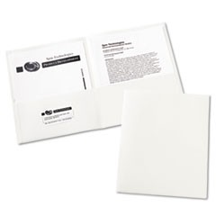 Two-Pocket Folder, 40-Sheet Capacity, White, 25/Box