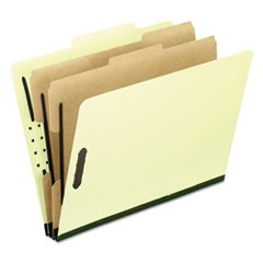 Six-Section Pressboard Folders, Letter, Light Green, 10/Box