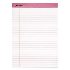 Pink Writing Pads, Wide/Legal Rule, 8.5 x 11, White, 50 Sheets, 6/Pack