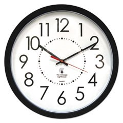 "Electric Contemporary Clock, 14.5"" Overall Diameter, Black Case, AC Powered"