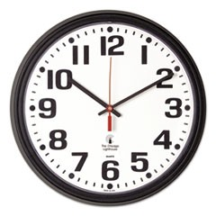 "Bold Quartz Contract Clock, 13-3/4"", Black"
