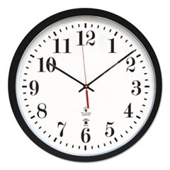 "Atomic Slimline Contemporary Clock, 16-1/2"", Black"