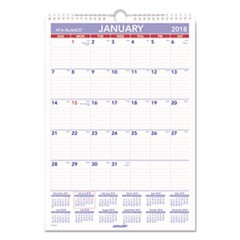 Erasable Wall Calendar, 12 x 17, White, 2018