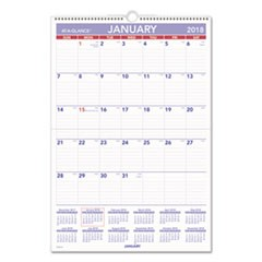 Erasable Wall Calendar, 15 1/2 x 22 3/4, White, 2018